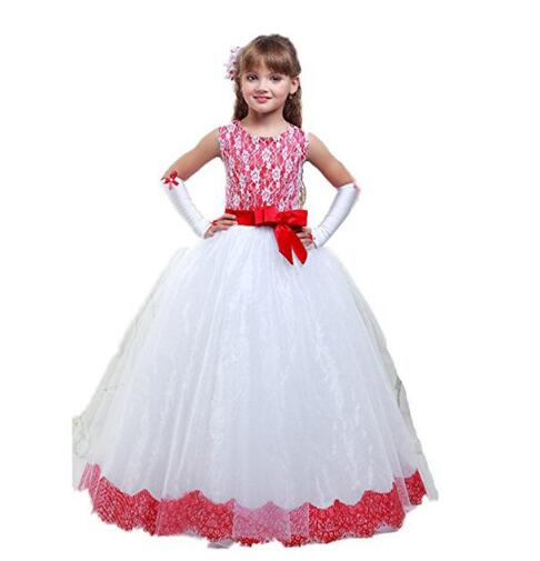 Girls Wedding Formal Dresses 2018 sleeveless Lace Gauze Flowers Girls Princess Dress Kids Backless Long Party Prom Dresses Red