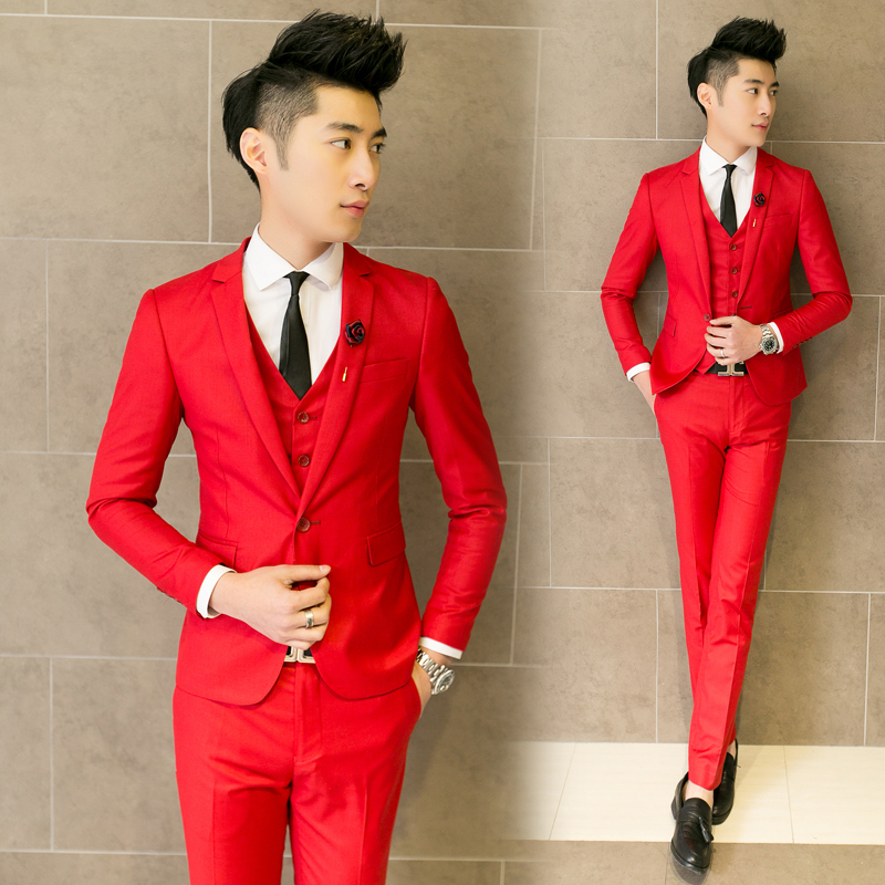 7a7448e05f0 2015 men s fashion slim clothing 3 piece suits set slim groom wedding dress  outerwear male singer stage costumes clothing-in Suits from Men s Clothing  on ...