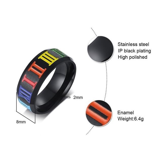 Proste 8mm czarne pierścienie dla mężczyzn z tęczowymi cyframi rzymskimi obrączki ślubne ze stali nierdzewnej LGBT Alliance akcesoria