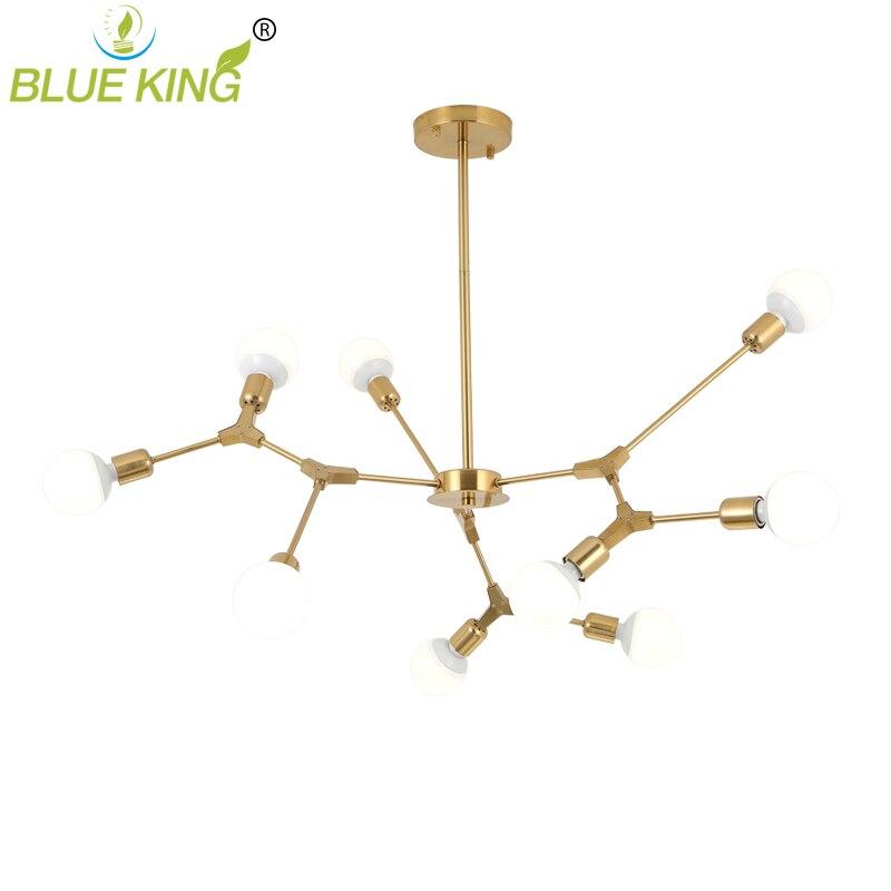 black gold color Nordic europe modern LED Lusters Chandeliers Lights for Dining Room Lamps Molecular Living Room Cloth shop
