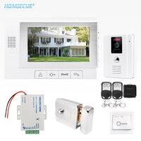 HOMSECUR 7 Проводной Видео и Аудио Смарт дверной Звонок Электрический Замок + Ключи Включены TC011 W + TM702 W