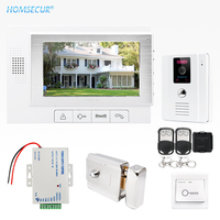 HOMSECUR 7 Wired Video&Audio Smart Doorbell Door Intercom Electric Lock+Keys Included TC011 W+TM702 W
