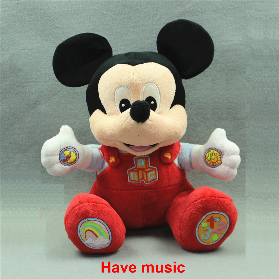 Free shipping 1pcs 28cm Music mickey mouse plush soft doll