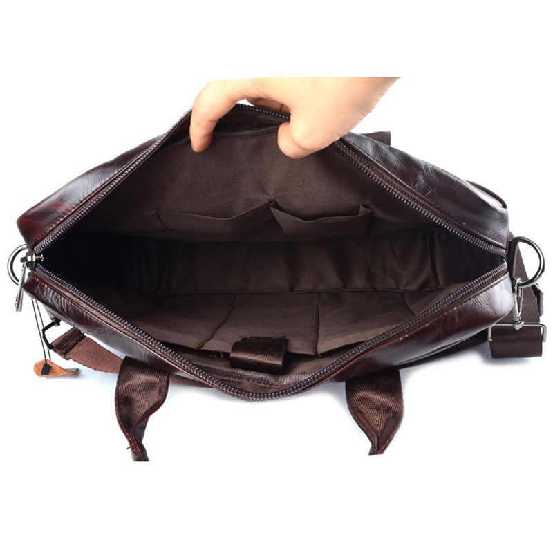 AETOO bolso de cuero genuino de los hombres bolso de cuero de vaca de los hombres bolsos de bandolera de viaje de los hombres bolso de mano de los bolsos de mano del ordenador portátil marrón