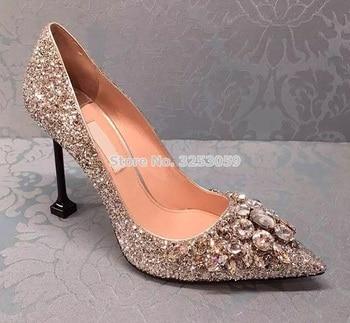 ALMUDENA Luxurious Bling Bling Gold Silver Crystal Wedding Shoes Designer Stiletto Heels Sequined Glittering Gem Dress Pumps