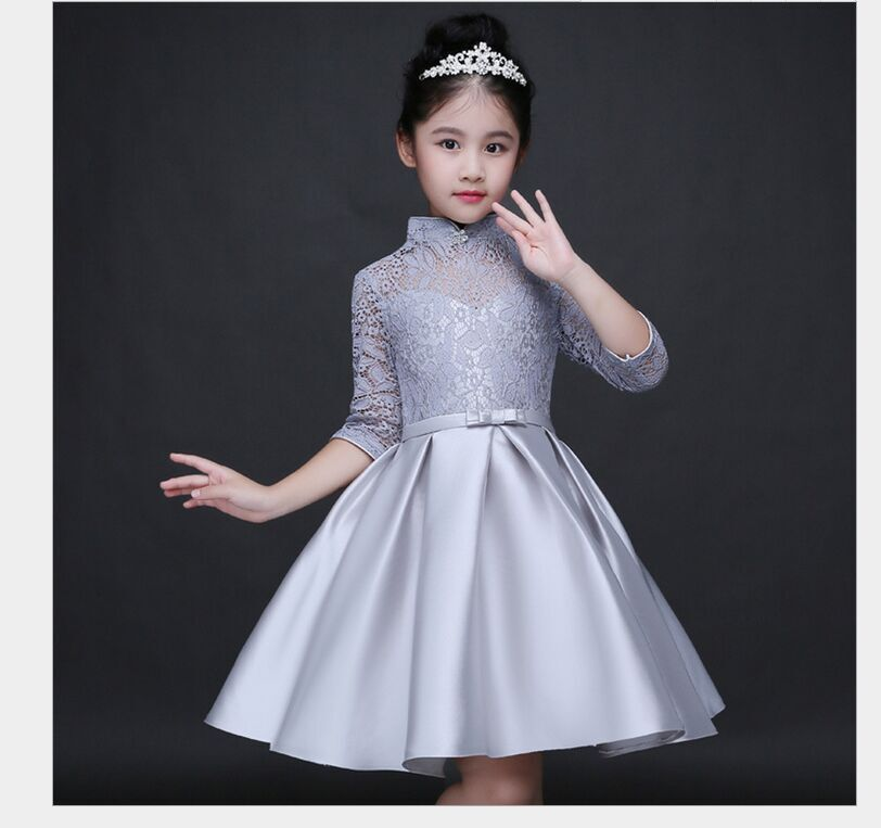 HTB1al93QFXXXXbfXVXXq6xXFXXXW - Baby Girl Kid Evening Party Dresses For Girl Wedding Princess Clothing 2017 New Solid Color Bow Moderator Dress Children Clothes
