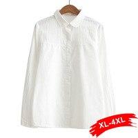 Plus Size Office Lady Casual White Blouse Shirt 4XL 3XL Peter Pan Collar Long Sleeve Women