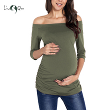 540d5f120b600 Womens Maternity Tops Off Shoulder T shirt Short Sleeve Striped Side Ruched  Pregnancy Clothes Mama T