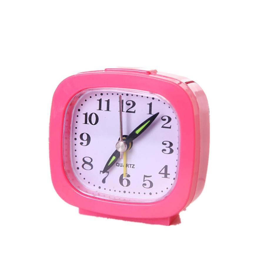 Home & Garden 2018 Square/rectangle Small Bed Compact Travel Quartz Beep Alarm Clock Cute Portable 3sw0531 Elegant In Smell Clocks