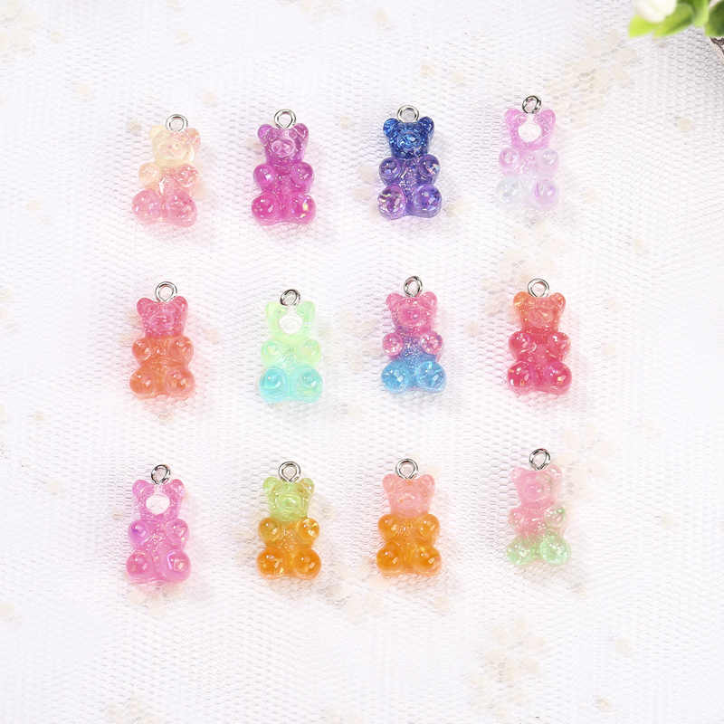 10*17mm 32pcs resin gummy bear necklace charms very cute keychain pendant  necklace pendant for jewerly decoration