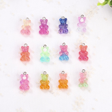 10*17mm 32pcs resin gummy bear necklace charms very cute keychain pendant  necklace pendant for jewerly decoration her jewellery cute small bear pendant necklace best fashion pendant made with crystals from swarovski hp0538