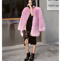 Pink Faux Fur Coat 2017 Snake Embroidery Lined Runway Fashion Faux Fur Coats High Quality Brand