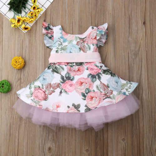 BIZE Yenidoğan Yürümeye Başlayan Çocuk Kız Prenses Dantel Çiçek Tutu Elbise Kolsuz Sundress