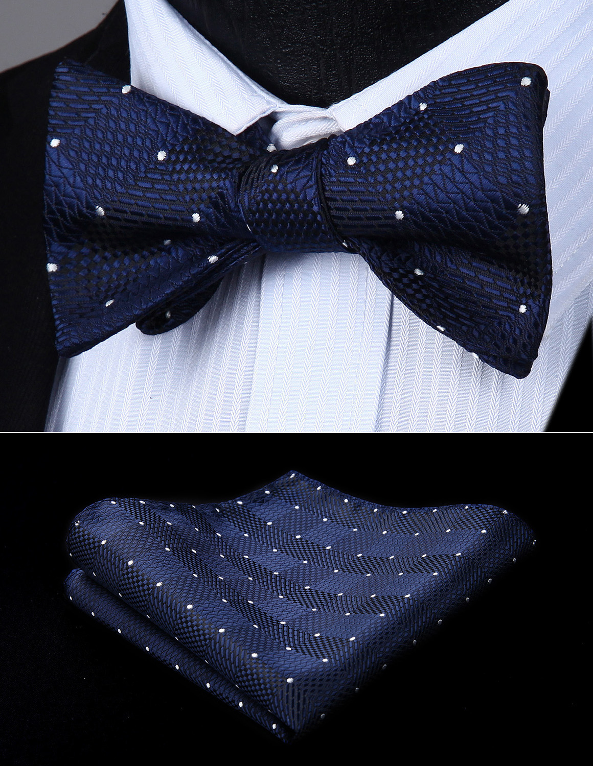 Bow Tie Handkerchief Set Men Woven Blue Check & Plaid Self Bow Tie Pocket Square Butterfly Set#BC719VS