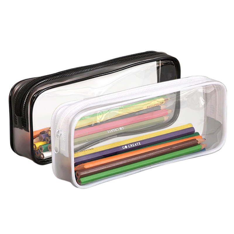 Big Size Pencil Bag Transparent Pen Cases Student School Storage Bag Supplies Files Organazier Lady Cosmetic Bag Gifts