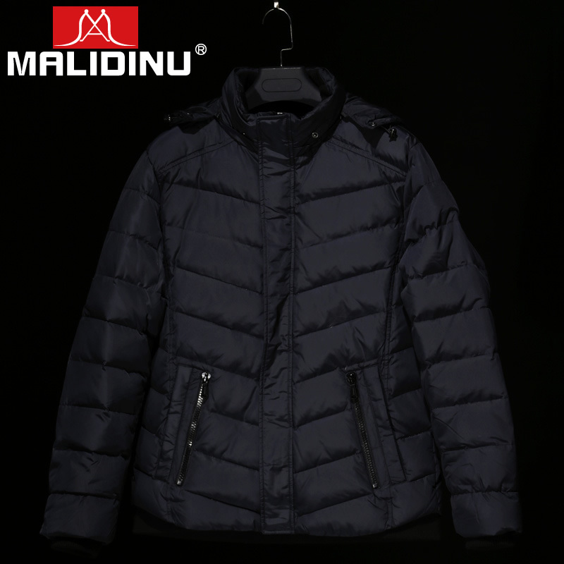 MALIDINU Brand new 2015 Fashion Winter Mans Thicken White Duck Down Jacket Coat Hood Parka European Size Free Shipping M12148