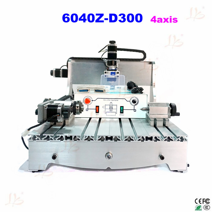CNC engraving machine 6040Z-D300 4axis 3D cnc router cnc wood carver with rotary axis, can do 3D cnc 3040 3020 6040 router cnc wood engraving machine rotary axis for 3d work all knids of model number russian tax free
