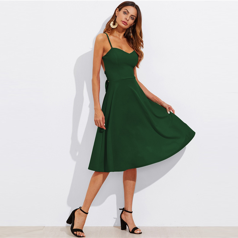 COLROVIE Crisscross Belted Back Cut Out Fitted & Flared Dress Red Spaghetti Strap Sleeveless Sexy A Line Party Dress Green 15