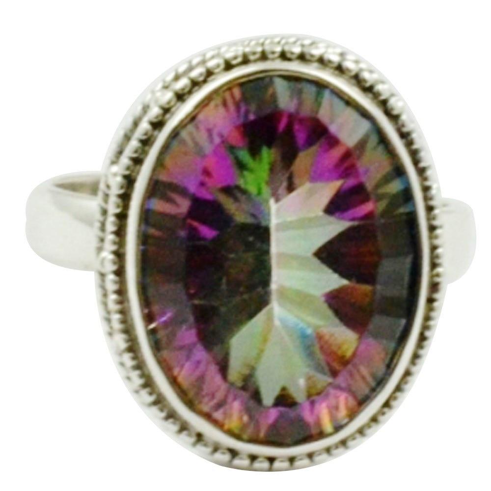 Genuine Mystic Topaz Ring, 100% dellargento sterlina 925, dimensioni: 6.75, AR3305Genuine Mystic Topaz Ring, 100% dellargento sterlina 925, dimensioni: 6.75, AR3305