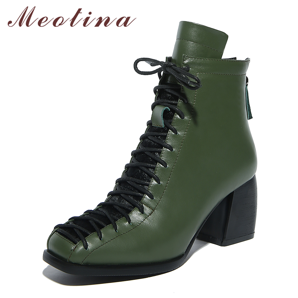 Meotina Genuine Leather Women Ankle Boots Thick Heels Motorcycle Boots Autumn Lace Up Short Leather Boots Ladies Shoes Size 42 meotina women ankle boots high heels wedge shoes winter boots lace up zip velvet shoes bling short boots heels large size 33 42