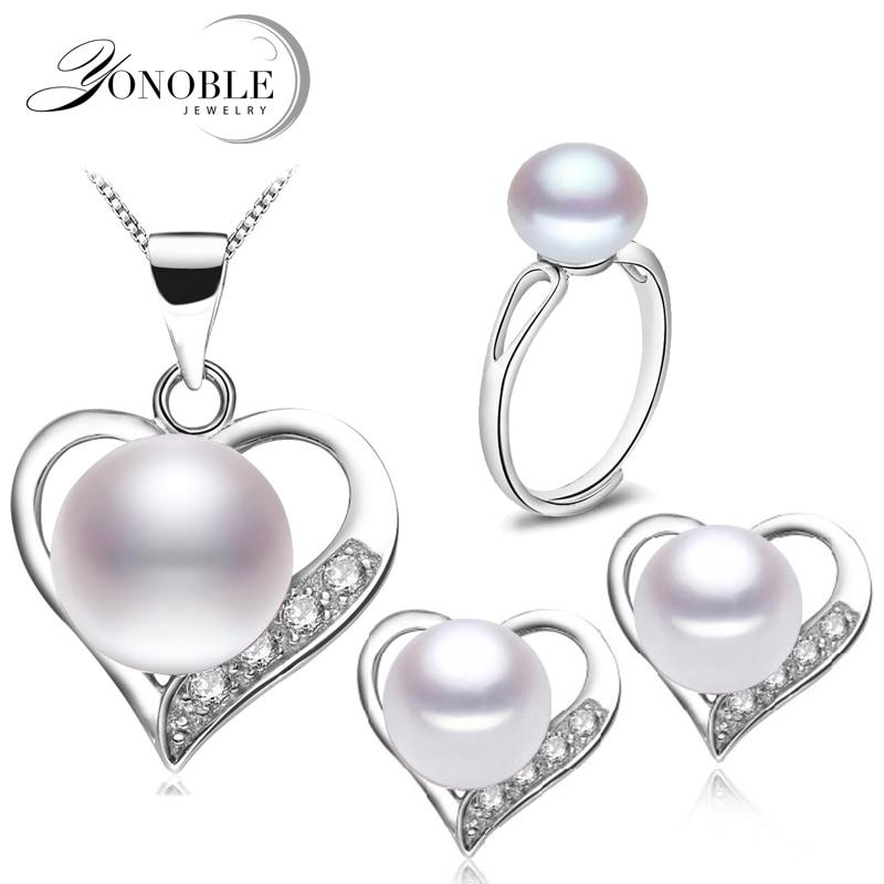 Nyata pengantin mutiara air tawar perhiasan set, 925 wanita perak, - Perhiasan bagus