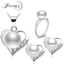 Real nupcial perla de la joyería de plata 925 de las mujeres, de la boda fija el collar pendiente de perlas naturales aniversario mejor regalo de la muchacha