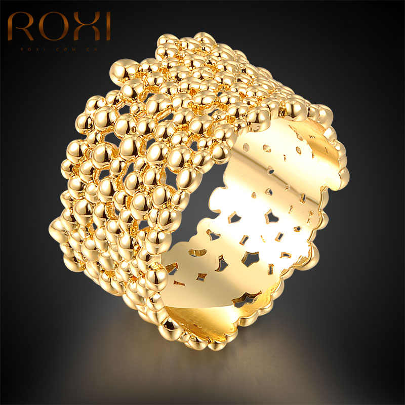 ROXI Top Bagues Femme Gold Color Rings For Women Gift New Fashion Jewelry Women Girl's Wedding Rings Gift Body Bijoux