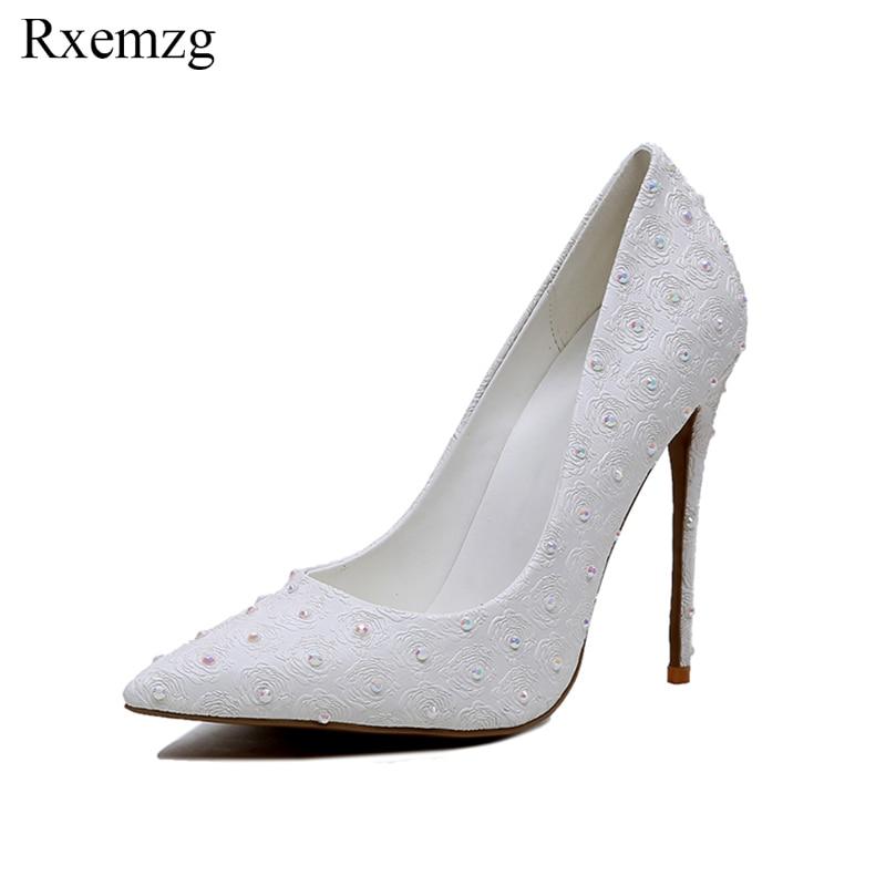 acf4cc17 Altos Fiesta Mujer Puntiagudos Para De Elegantes Imitación Blancos Boda  Nuevas Zapatos 2019 Novia Rxemzg Bombas Tacones ...