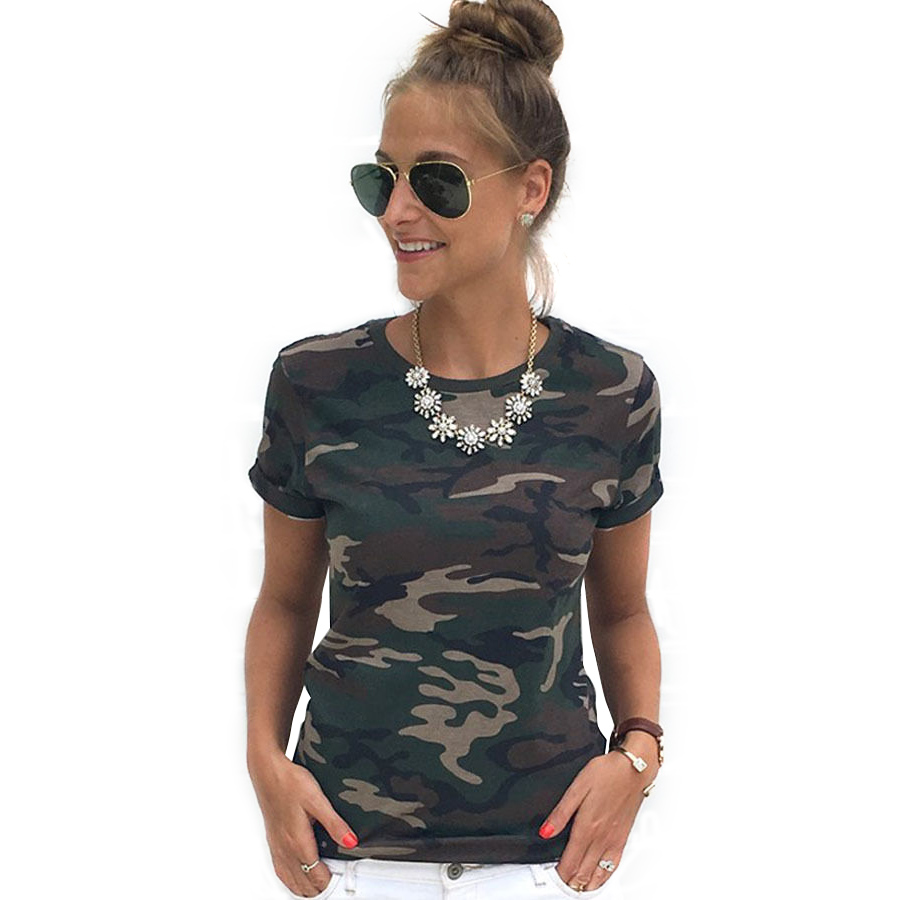 Fashion Woman Camouflage Print T-shirt Casual O-neck Short Sleeve Summer T-shirts Tee Tops FS99