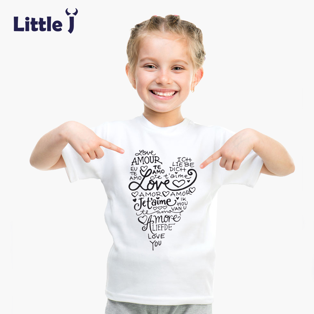 Clearance Summer Love Letter Girls T Shirt Short Sleeve Children's T-shirt Cotton Tee Top Cartoon Boys Clothes White Kid T-Shirt
