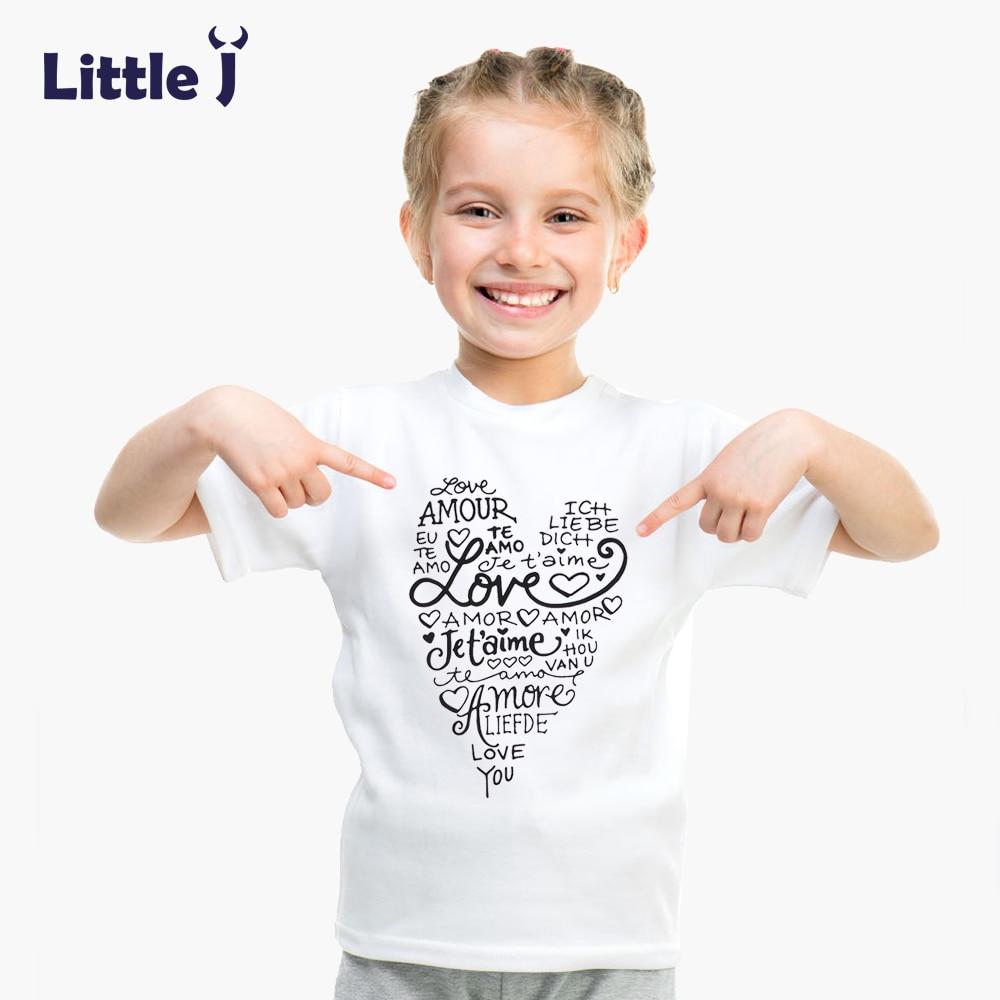 Clearance Summer Love Letter Girls T Shirt Short Sleeve Children's T-shirt Cotton Tee Top Cartoon Boys Clothes White Kid T-Shirt