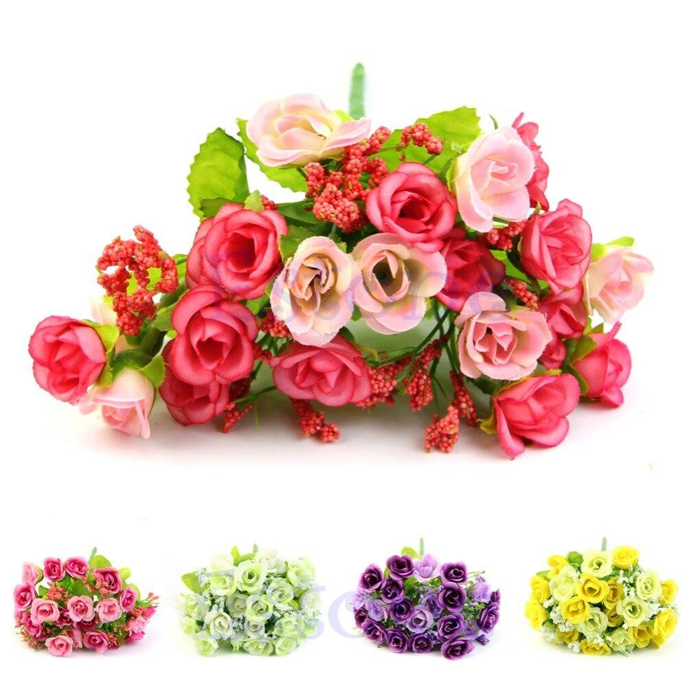 New Hot Rose Fake Silk Flower Leaf Artificial Home Wedding Decor