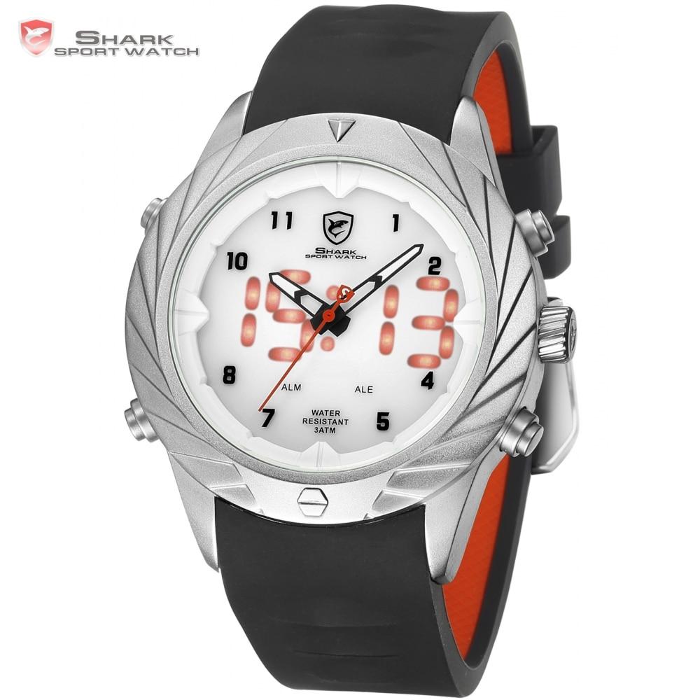 c17879457cd Melhor Tubarão Esporte Novo Design Top Marca de Luxo Relógio para Homens  Alarme relógios Banda de Silicone reloj hombre LED Digital Vestido Relógios  SH580 ...