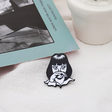 Pulp Fiction Brooch Classic Movie Role Mia Wallace Enamel Pin Bag Shirt Coat Jackets Accessories Gothic Jewelry Gift For Fans(China)