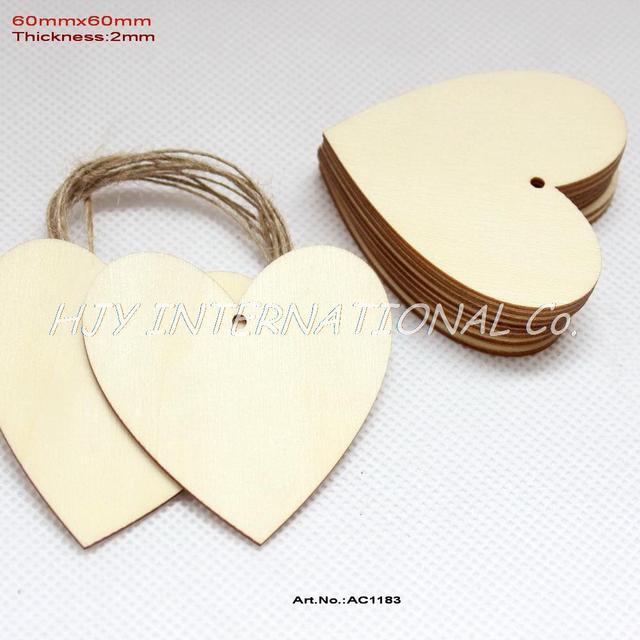 (30 قطعة/الوحدة) 60 مللي متر فارغة لم تنته الخشب القلب العلامات صالح اليد مختوم الزفاف الحب الكلمات سلسلة معلقة 2.4 inches CT1183