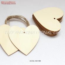 (30 pçs/lote) 60mm Em Branco Tags de Coração Favor Do Casamento Amor Mão Carimbada Tags Unfinished Madeira Corda Pendurada 2.4 inches CT1183