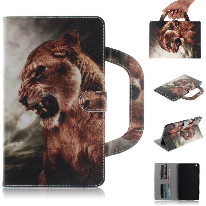 Tablet Case For Huawei MediaPad M3 Lite 8.0 Handle Flip Cover Stand Leather Wallet Coloured drawing Tiger Lion wolf Coque