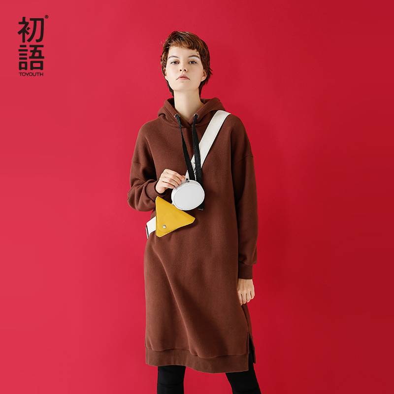 Toyouth Hoodie Dress Women Long Sweatshirt With Hood 2019 Autumn Winter Casual Solid Color Hooded Pullover