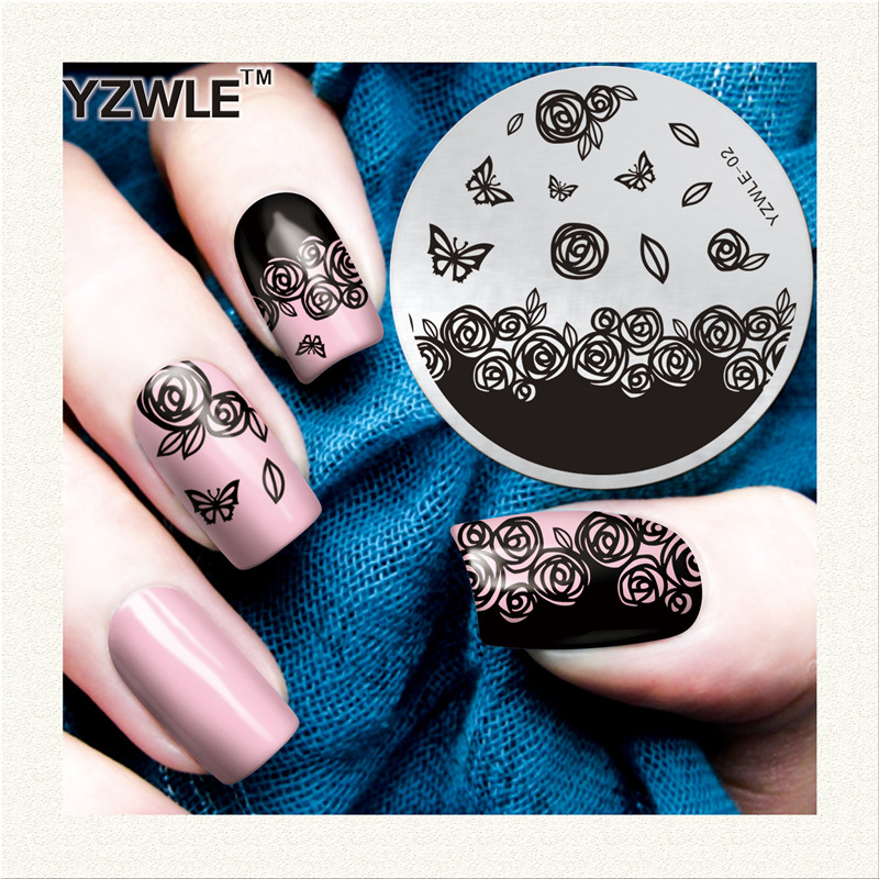 YZWLE 1 Sheet Stamping Nail Art Image Plate, 5.6cm Stainless Steel Template Polish Manicure Stencil Tools (YZWLE-02)
