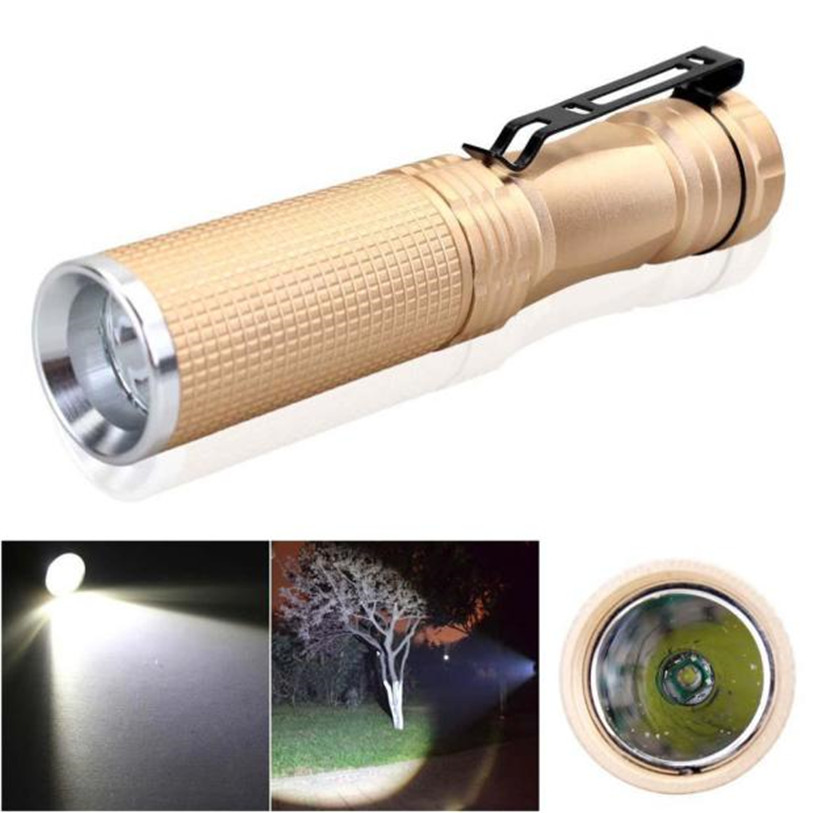 New 7W XPE Q5 LED 14500 AA font b Flashlight b font Portable Torch Champagne font