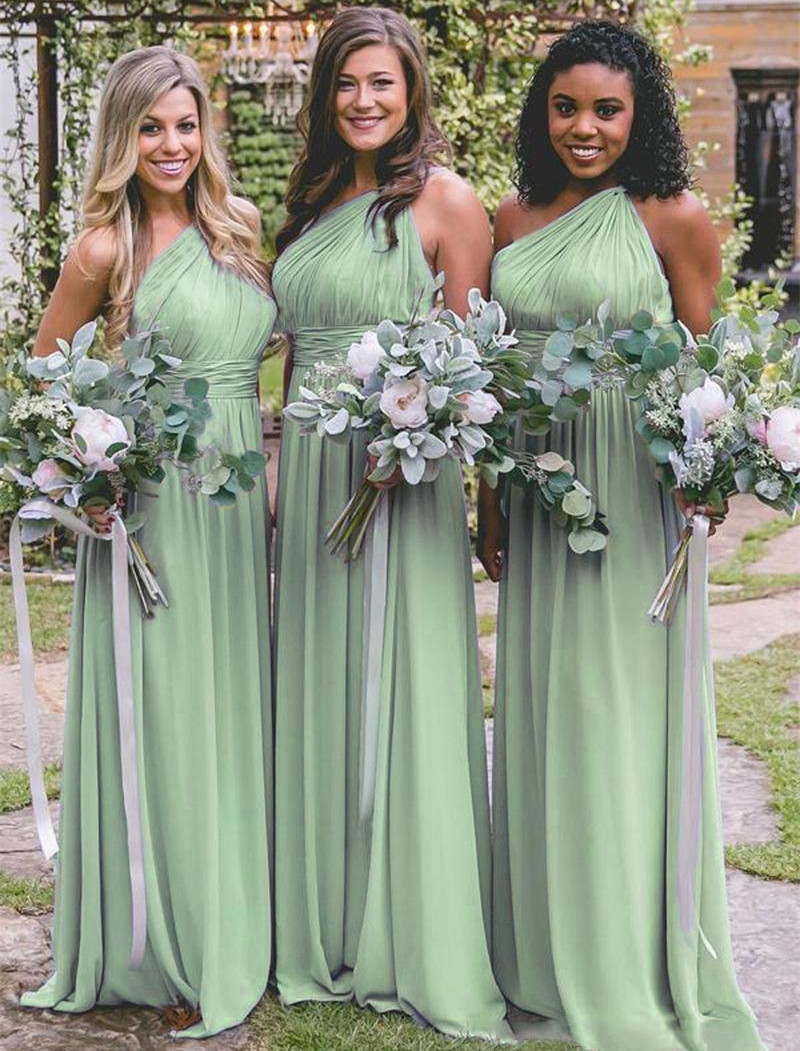 Holievery Pleated One Shoulder   Bridesmaid     Dresses   Floor Length Beach Wedding Party   Dresses   New Maid of Honor Gowns vestido gasa