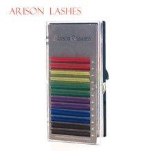 Arison 12 linhas/conjunto de 6 cores natural extensão cílios postiços mista arco-íris 0.1mm cor lash maquiagem frete grátis