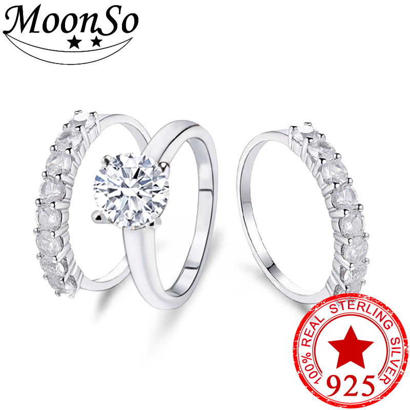 Moonso new 2017 925 sterling silver AAA Stone 3 pieces ring sets for women wedding jewelry