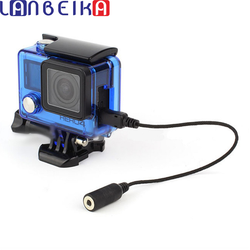 LANBEIKA For Gopro 3.5mm Active Clip Microphone with Mini USB External Mic Audio Adaptor Cable For Go Pro Hero 3 3+ 4