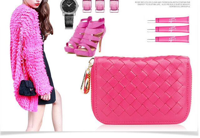 Factory outlets 2015 new card pack fashion Plaid woven leather zipper purse card package  HA066