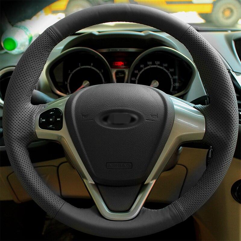 Купить блестящие пшеницы черный кожаный чехол рулевого колеса автомобиля