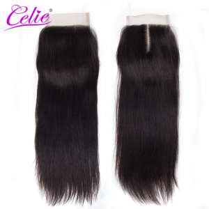 Image 5 - Celie Hair Brazilian Straight 5x5 Lace Closure Free/Middle Part 150% Density Natural Black Color Remy Human Hair Closure