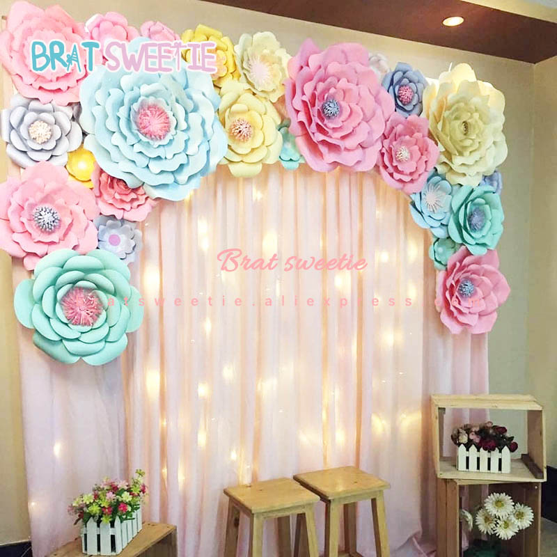Artificial Flowers Paper Pom Poms Fake Flower DIY Baby Shower 1st Birthday Party Wedding Decoration Backdrop Tools Wall Decor(China)