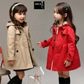 Meninas Trench Coat Crianças Casaco 2016 Primavera Outono Hoodies Longo Outwear Crianças Casacos Xadrez Estilo Casual Vermelho/Cáqui Inverno jaquetas