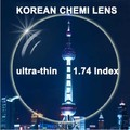 I-bright South Korean CHEMI LENS 1.74 Super Thin Aspherical Lenses Anti-radiation Resin Optical Myopia Prescription 2pcs/pair